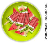popsicles on green plate and...   Shutterstock .eps vector #2000864438