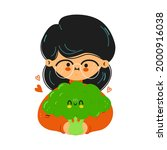 young cute funny girl hold...   Shutterstock .eps vector #2000916038