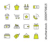 shopping set icon  isolated...