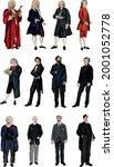Set of 12 Great Classical Composers Standing Vector Portraits - Vivaldi, Handel, Bach, Mozart, Beethoven, Chopin, Verdi, Wagner, Brahms, Tchaikovsky, Edward Elgar, Ralph Vaughn Williams