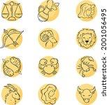 zodiac sign set. astrology... | Shutterstock .eps vector #2001056495