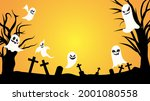 ghost and grass in the... | Shutterstock .eps vector #2001080558