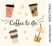 cute set of vector cups and... | Shutterstock .eps vector #2001174962
