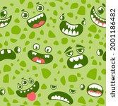 monster faces seamless pattern. ... | Shutterstock .eps vector #2001186482