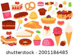 cartoon confectionery sweets.... | Shutterstock .eps vector #2001186485