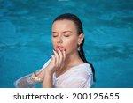 fashion portrait of beautiful... | Shutterstock . vector #200125655