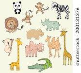 set of wild animals. hand drawn ...   Shutterstock .eps vector #200131376