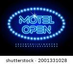 vector glowing signboard motel... | Shutterstock .eps vector #2001331028