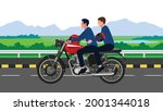 two people without helmet... | Shutterstock .eps vector #2001344018