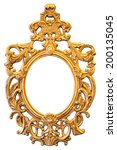 Gold Ornate Oval Frame Isolated