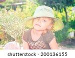 blond girl in hat retro... | Shutterstock . vector #200136155