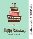 vector birthday cake  card | Shutterstock .eps vector #200136665