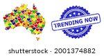 blue rosette distress seal...   Shutterstock .eps vector #2001374882