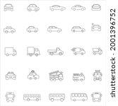 linear car icons set. universal ...