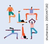 six persons practicing yoga... | Shutterstock .eps vector #2001447182