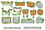 jungle wooden and stone signs....