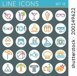 vactation line icons set.... | Shutterstock .eps vector #200149622