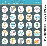 vactation line icons set.... | Shutterstock .eps vector #200149622