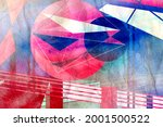 abstract geometric watercolor... | Shutterstock . vector #2001500522