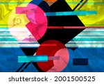 abstract geometric watercolor... | Shutterstock . vector #2001500525