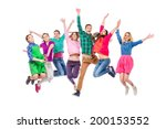 large group of cheerful young... | Shutterstock . vector #200153552