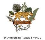 jungle cartoon tropical bengal... | Shutterstock .eps vector #2001574472