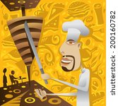 Shawarma Restaurant Chef, Food, Donar, Kebab, Gyros, Sandwich, Abstract Caf�© and Cafeteria (vector Art)