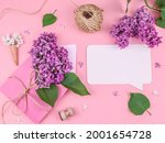 Lilac flowers in an envelope...