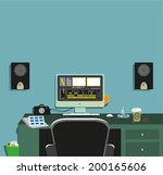 dark video editing room concept ... | Shutterstock .eps vector #200165606