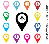 set of airport marker icons.... | Shutterstock .eps vector #200174885