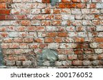 Old Red Wall With Bricklaying...