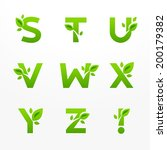 vector set of green eco letters ...