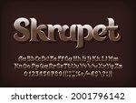 skrapet alphabet font. beveled... | Shutterstock .eps vector #2001796142