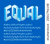 equal alphabet font. isometric... | Shutterstock .eps vector #2001796148