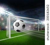 soccer ball flies into the goal   Shutterstock . vector #200182652