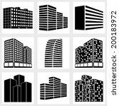 buildings icons vector black on ... | Shutterstock .eps vector #200183972