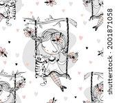 seamless pattern. a cute girl... | Shutterstock .eps vector #2001871058
