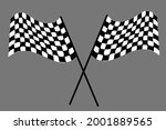 checkered flags crossed for car ... | Shutterstock .eps vector #2001889565