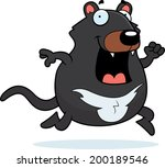 A happy cartoon Tasmanian devil running and smiling.