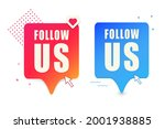 a set of two buttons follow me. ...   Shutterstock .eps vector #2001938885