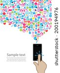 template hand design phone idea ... | Shutterstock .eps vector #200194976