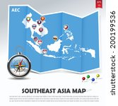 southeast asia map with aec member national flags in location balloons on blue paper fold next to a compass and colorful pins, abstract vector illustration