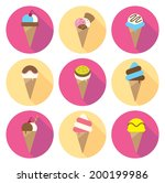 set of ice cream cone flat icon