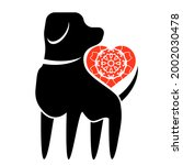 dog and red heart icon isolated ...   Shutterstock . vector #2002030478