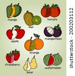 set of doodle fruit | Shutterstock .eps vector #200203112