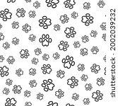 dog foot print seamless pattern ...   Shutterstock . vector #2002039232