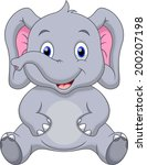 Stock vector cute elephant cartoon 200207198
