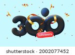 banner with 300 followers thank ... | Shutterstock .eps vector #2002077452