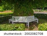 Denmark  White Wooden Bench ...
