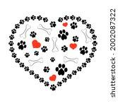 dog foot print pattern on white ...   Shutterstock . vector #2002087322